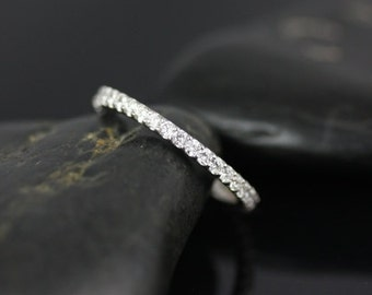 Mohma 14kt White Gold Scalloped Diamonds FULL Eternity Band (Other Metals and Stone Options Available)