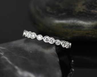 Rosados Box Bethany 14kt Double & Single Bubble WITH Milgrain Diamond FULL Eternity Band