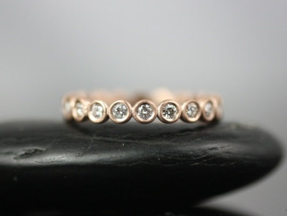Original Bubbles 2.8mm 14kt Rose Gold Round Bezel Diamonds FULL Eternity Band (Other Metals and Stone Options Available)