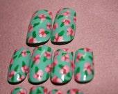 Vintage Flower Pattern Hand Painted Nail Art