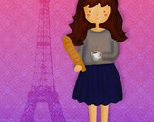 French Girl with Baguette and Cafe au Lait in Paris Illustration Print