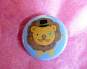 "Cute Lion with Top Hat and Monocle - 1-1/4"" Pinback Button"