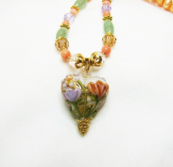 Peach, green, lavender, gold, pendant, necklace, lampwork, floral, pearl, feminine, crystal, orange, angel skin, bead, heart, spring  (1299)