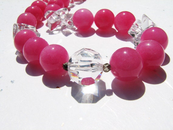 Hot neon pink necklace. Chunky rock crystal. Sterling silver nuggets. Big bold beads. Colorful beaded jewelry.