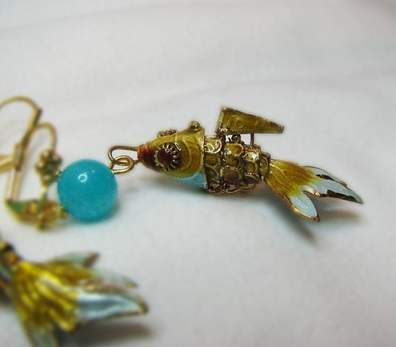 Yellow and aqua fish charm earring.  Cloisonne enamel. Articulated charm. Gold lever back ear wire. Beach beaded jewelry.