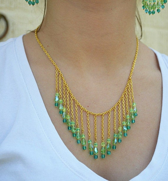 Green and teal bib necklace Turquoise crystal bead Gold  chain Feminine gypsy  beaded jewelry.
