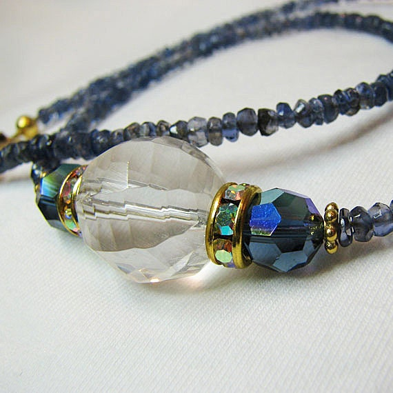 Blue sapphire necklace Crystal beaded necklace Single strand gemstone necklace  Gold vermeil accents Gemstone jewelry Beaded jewelry