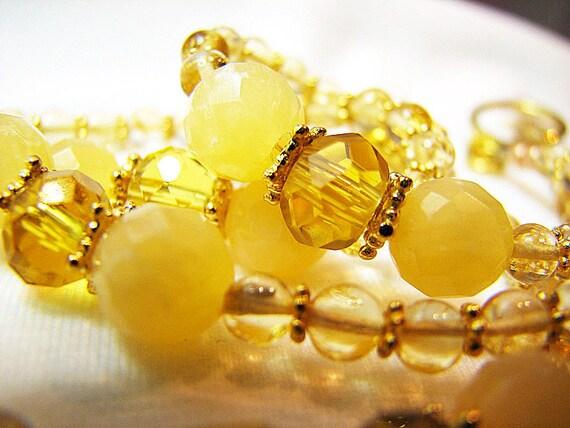 Sunny yellow citrine necklace Jade and gold beaded necklace Single strand citrine gemstone jewelry  Feminine beaded jewelry