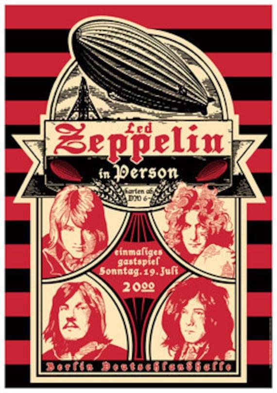 items similar to led zeppelin berlin germany 19 july 1970 concert live show poster. Black Bedroom Furniture Sets. Home Design Ideas