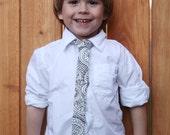 Boys Skinny Tie - Black and White Pattern - Geometric - Modern Pattern - Contemporary - Adjustable - Velcro - Toddler, Little Guy