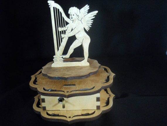 Music Box-Cupid playing the Harp