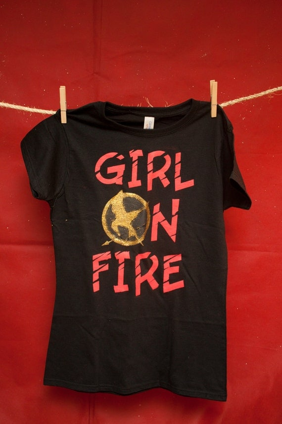 Items similar to hunger girl on fire shirt on etsy for On fire brand t shirts