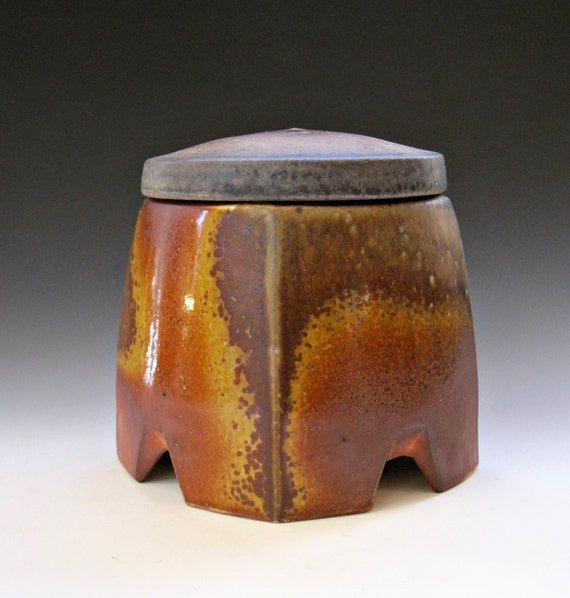 Anagama Fired Square Jar with Speckles
