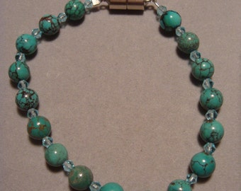 Chinese Turquoise / Blue Glass Bead Bracelet