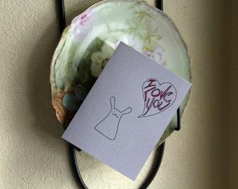 I Love You Original One-of-a-kind Bunny love card