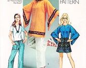 """1970 Wide Kimono """"Angel Sleeve"""" Mini Dress, Tunic and Draw String Hip Hugger Pants, Learn to Sew Simplicity 9178, Bust 34"""", Uncut"""
