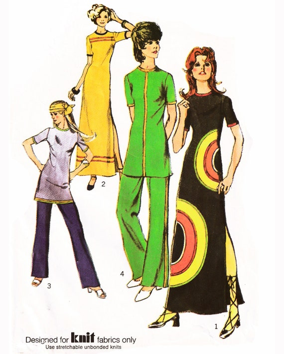 Reserved for Michael-1971 Vintage Knit Maxi Dress, Circular Trim, Left Side Slit, Tunic or Pants, Trim Options, Simplicity 9488, Size 16