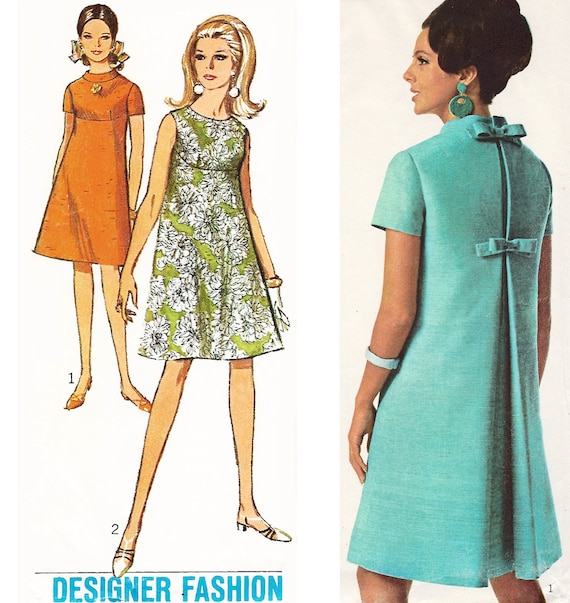 """1967 Simplicity Designer Fashion 6961, Shaped Tent Dress with Deep Front Yoke and Back Inverted Pleat Detail, Size 10, Bust 31"""", Uncut"""