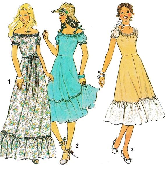 "1978 Vintage Folk Peasant Dress, Gathered Ruffled Skirt, Puff Sleeves, Off Shoulder Option, Optional Ties, Simplicity 8568, Bust 34"""