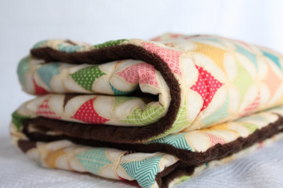 Ultra Plush Baby Blanket, in  Cotton Fabric with Chocolate Brown Minky Fabric Gift under 50