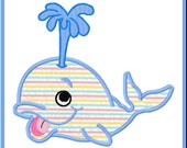 Cute Blue Whale Applique Design For Embroidery Machines-Instant Download
