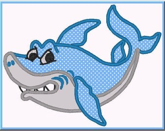 Cute Shark Applique Design For Embroidery Machines- Instant Download