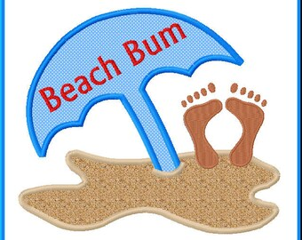 Summer Beach Bum Applique Design For Embroidery Machines- Instant Download