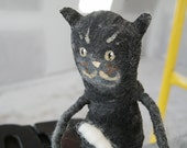 Charcoal Gray Kitty with green handbag and white boots with buttons - needle felted - acrylic accents