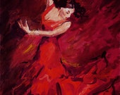 CARMEN. ARt PRINT from original acrylic painting by Ukrainian artist Nataly Basarab. Signed by artist