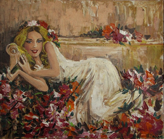 """Original Acrylic painting """"Temptress"""", Girl in flowers romantic art, fashion painting  20''x 23.6"""" Impasto. Palette Knife, signed, wall art"""