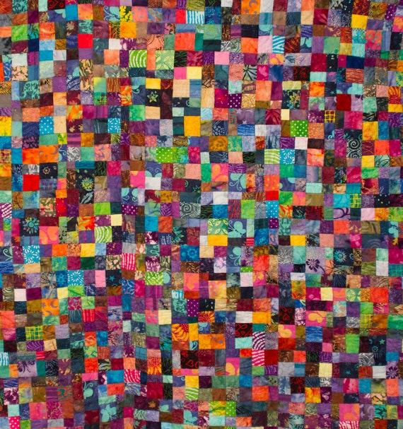 No. 7, Fractured Four-Patch (Copyrighted), Vibrant Batik Quilt, 1,152 Pieces