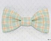 boys easy clip on bow tie - light cream and aqua plaid