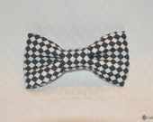 toddler easy clip on bow tie - navy and white diamond checkers