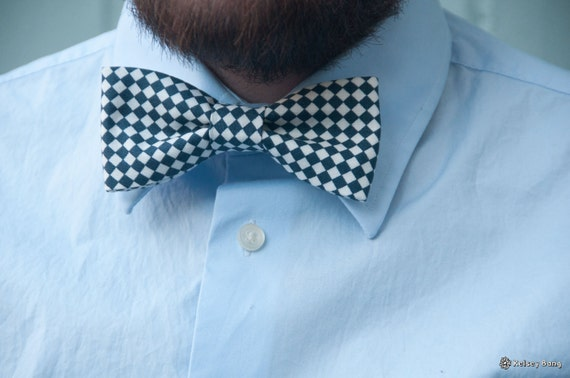 adult easy clip on bow tie - navy and white diamond checkers
