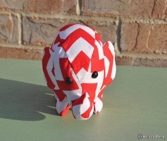 elephant stuffed animal - red and white chevron