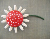 Vintage Daisy Brooch-Red and White Polka Dots