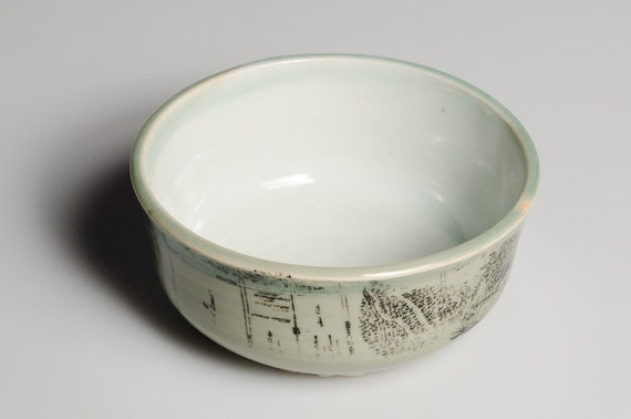 Light Green Porcelain Bowl with Tree Coverage Map
