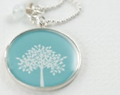 Tree Necklace | Tree of Life Pendant | Aquamarine Tree Necklace | Sterling Tree Necklace