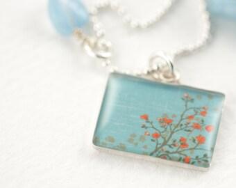 Aquamarine Tangerine Tango Flower Necklace   Spring Blossom Sterling Rectangle Necklace