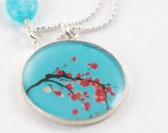 Cherry Blossoms Necklace | Aqua Red Flower Necklace | Japanese Style Pendant in Sterling Silver