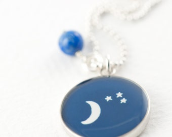 Moon and Stars Necklace | Night Sky Necklace | Original Illustration Necklace in Sterling Silver