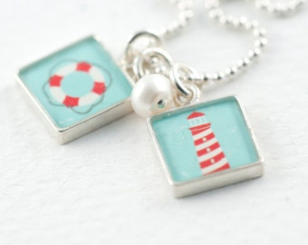 Lifeguard Necklace | Boho Beachy Necklace | Gifts for Grads | Lighthouse Necklace | Sterling Silver Graphic Necklace | Gift for Lifeguards