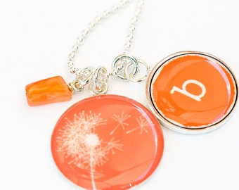 Initial Necklace | Dandelion Pendant | Personalized Initial Charm with Flower Pendant | Sterling Silver