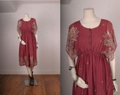 Vintage dress Bohemian Gypsy hankerchief sleeves pink paisley women size  S 8 small
