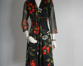Party dress women floral summer spring black red bohemian size S