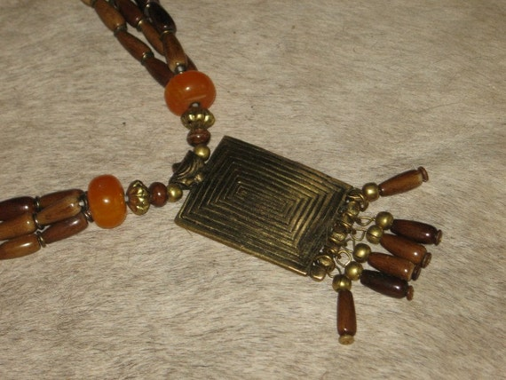 Bohemian Vintage chunky beaded necklace amber brass tribal