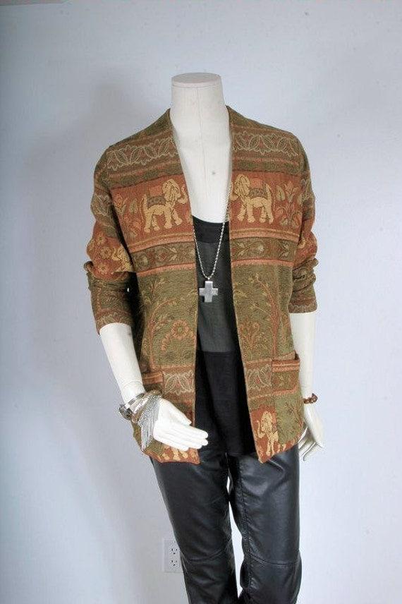 Women vintage jacket brocade woven chenille blazer coat elephant print size L large