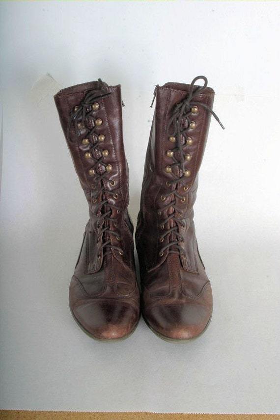 Vintage lace up leather boots womens size 10 brown leather