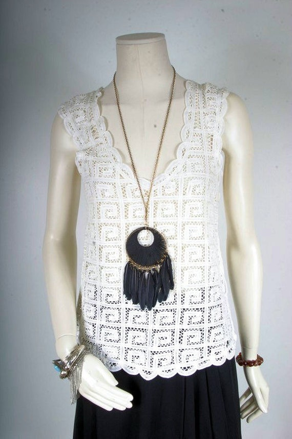 White lace top 70s women ladies size S small