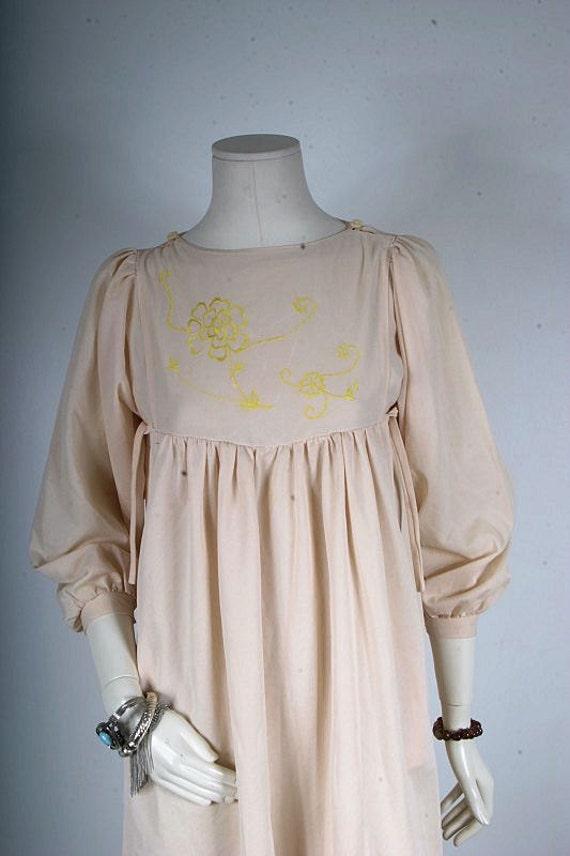 Vintage dress Empire waist babydoll bridesmaid cream embroidered women size S